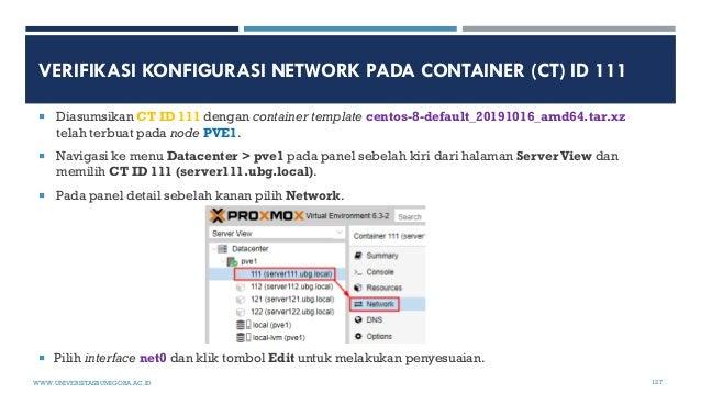 VERIFIKASI KONFIGURASI NETWORK PADA CONTAINER (CT) ID 111  Diasumsikan CT ID 111 dengan container template centos-8-defau...