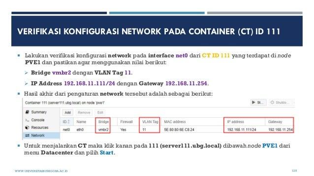 VERIFIKASI KONFIGURASI NETWORK PADA CONTAINER (CT) ID 111  Lakukan verifikasi konfigurasi network pada interface net0 dar...