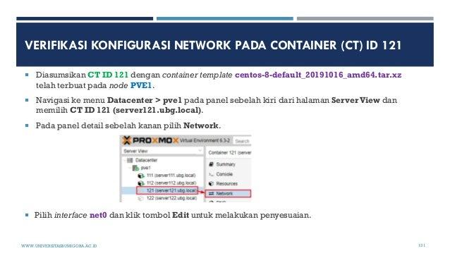 VERIFIKASI KONFIGURASI NETWORK PADA CONTAINER (CT) ID 121  Diasumsikan CT ID 121 dengan container template centos-8-defau...