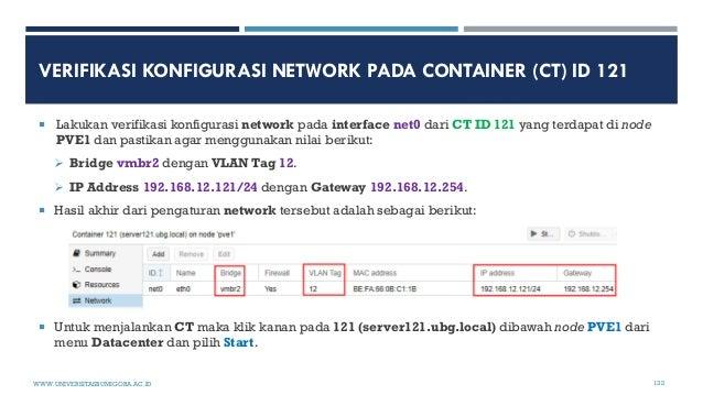 VERIFIKASI KONFIGURASI NETWORK PADA CONTAINER (CT) ID 121  Lakukan verifikasi konfigurasi network pada interface net0 dar...
