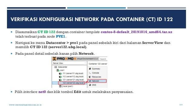 VERIFIKASI KONFIGURASI NETWORK PADA CONTAINER (CT) ID 122  Diasumsikan CT ID 122 dengan container template centos-8-defau...