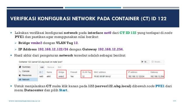 VERIFIKASI KONFIGURASI NETWORK PADA CONTAINER (CT) ID 122  Lakukan verifikasi konfigurasi network pada interface net0 dar...