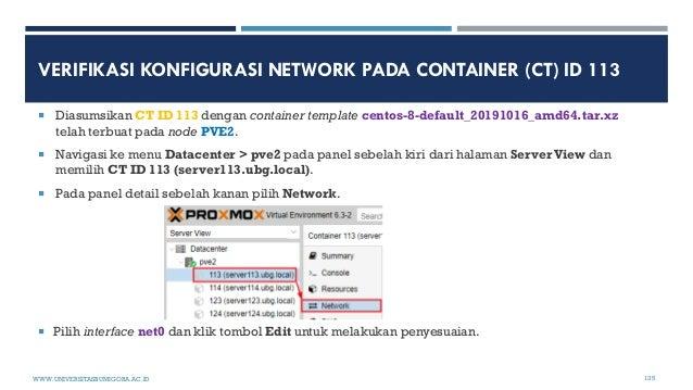 VERIFIKASI KONFIGURASI NETWORK PADA CONTAINER (CT) ID 113  Diasumsikan CT ID 113 dengan container template centos-8-defau...