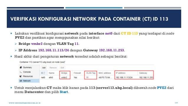 VERIFIKASI KONFIGURASI NETWORK PADA CONTAINER (CT) ID 113  Lakukan verifikasi konfigurasi network pada interface net0 dar...