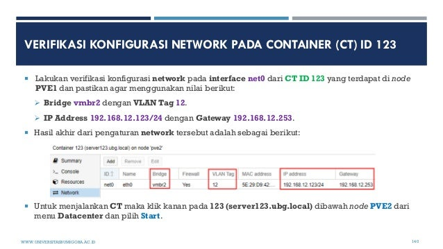 VERIFIKASI KONFIGURASI NETWORK PADA CONTAINER (CT) ID 123  Lakukan verifikasi konfigurasi network pada interface net0 dar...
