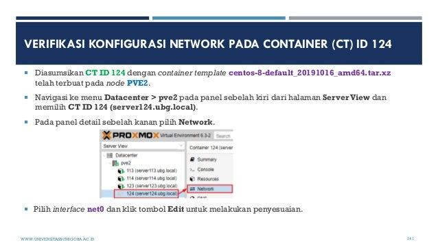 VERIFIKASI KONFIGURASI NETWORK PADA CONTAINER (CT) ID 124  Diasumsikan CT ID 124 dengan container template centos-8-defau...