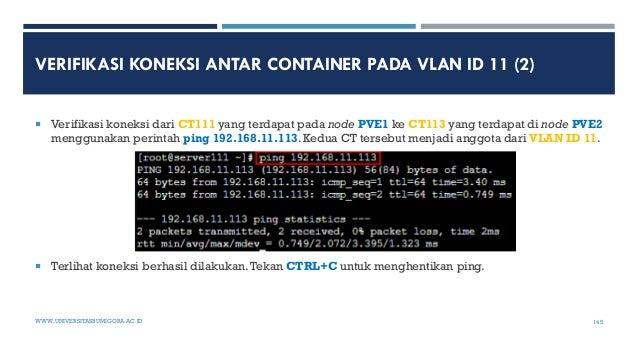 VERIFIKASI KONEKSI ANTAR CONTAINER PADA VLAN ID 11 (2)  Verifikasi koneksi dari CT111 yang terdapat pada node PVE1 ke CT1...