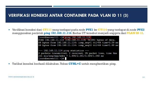 VERIFIKASI KONEKSI ANTAR CONTAINER PADA VLAN ID 11 (3)  Verifikasi koneksi dari CT111 yang terdapat pada node PVE1 ke CT1...