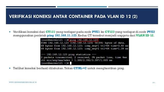 VERIFIKASI KONEKSI ANTAR CONTAINER PADA VLAN ID 12 (2)  Verifikasi koneksi dari CT121 yang terdapat pada node PVE1 ke CT1...