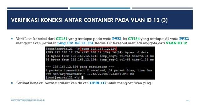VERIFIKASI KONEKSI ANTAR CONTAINER PADA VLAN ID 12 (3)  Verifikasi koneksi dari CT121 yang terdapat pada node PVE1 ke CT1...