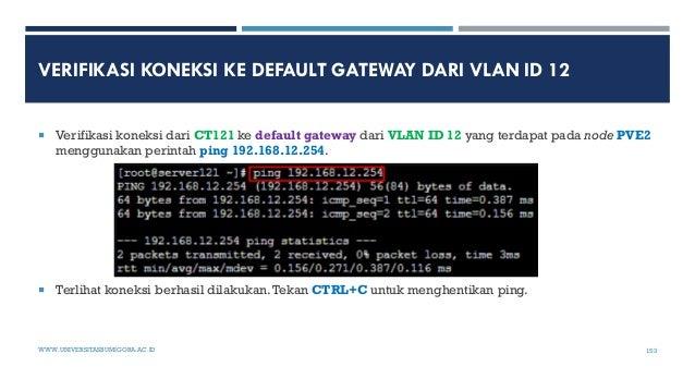 VERIFIKASI KONEKSI KE DEFAULT GATEWAY DARI VLAN ID 12  Verifikasi koneksi dari CT121 ke default gateway dari VLAN ID 12 y...