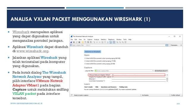 ANALISA VXLAN PACKET MENGGUNAKAN WIRESHARK (1)  Wireshark merupakan aplikasi yang dapat digunakan untuk menganalisa proto...