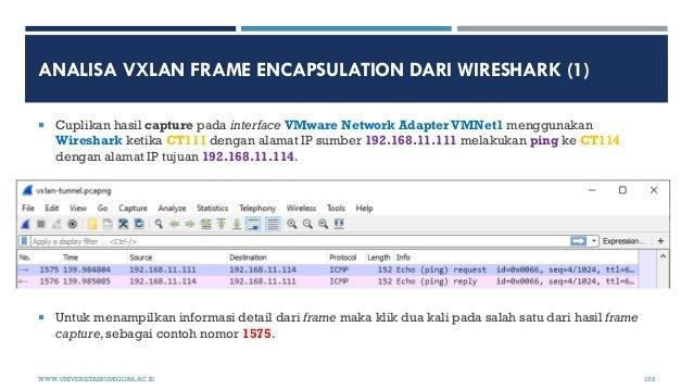 ANALISA VXLAN FRAME ENCAPSULATION DARI WIRESHARK (1)  Cuplikan hasil capture pada interface VMware Network Adapter VMNet1...