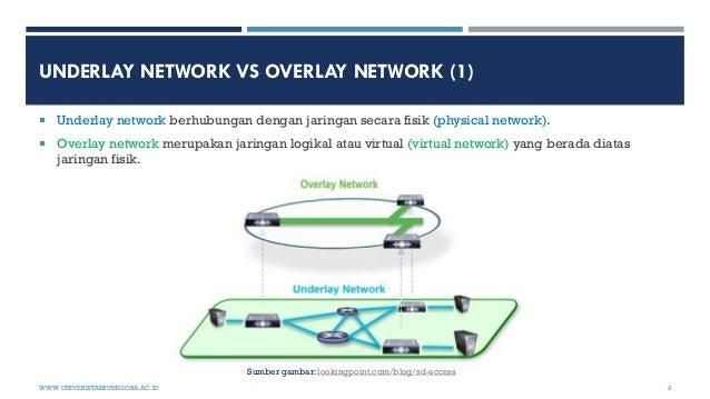 UNDERLAY NETWORK VS OVERLAY NETWORK (1)  Underlay network berhubungan dengan jaringan secara fisik (physical network).  ...