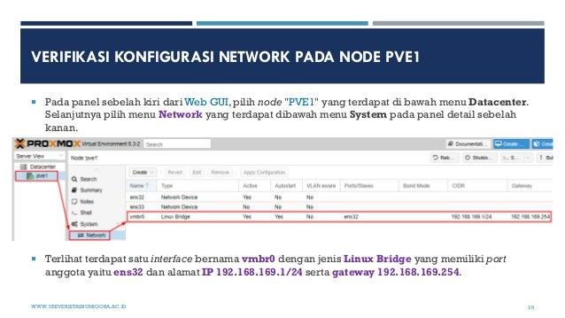 """VERIFIKASI KONFIGURASI NETWORK PADA NODE PVE1  Pada panel sebelah kiri dari Web GUI, pilih node """"PVE1"""" yang terdapat di b..."""