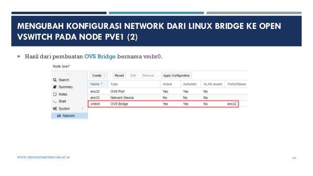 MENGUBAH KONFIGURASI NETWORK DARI LINUX BRIDGE KE OPEN VSWITCH PADA NODE PVE1 (2)  Hasil dari pembuatan OVS Bridge bernam...