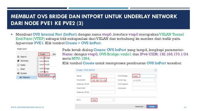 MEMBUAT OVS BRIDGE DAN INTPORT UNTUK UNDERLAY NETWORK DARI NODE PVE1 KE PVE2 (3)  Membuat OVS Internal Port (IntPort) den...