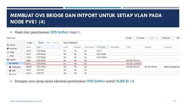 MEMBUAT OVS BRIDGE DAN INTPORT UNTUK SETIAP VLAN PADA NODE PVE1 (4)  Hasil dari pembuatan OVS IntPort vlan11.  Dengan ca...