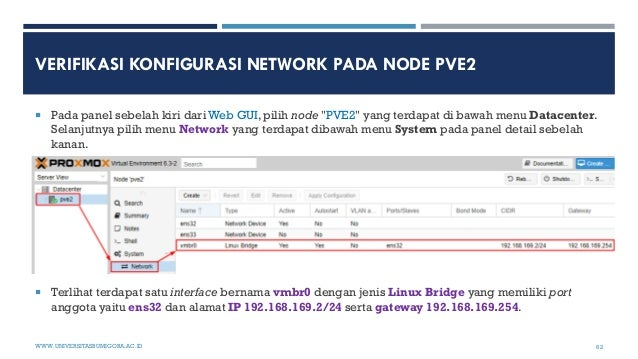 """VERIFIKASI KONFIGURASI NETWORK PADA NODE PVE2  Pada panel sebelah kiri dari Web GUI, pilih node """"PVE2"""" yang terdapat di b..."""