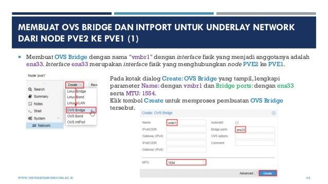 "MEMBUAT OVS BRIDGE DAN INTPORT UNTUK UNDERLAY NETWORK DARI NODE PVE2 KE PVE1 (1)  Membuat OVS Bridge dengan nama ""vmbr1"" ..."