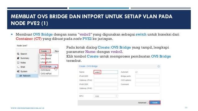 "MEMBUAT OVS BRIDGE DAN INTPORT UNTUK SETIAP VLAN PADA NODE PVE2 (1)  Membuat OVS Bridge dengan nama ""vmbr2"" yang digunaka..."