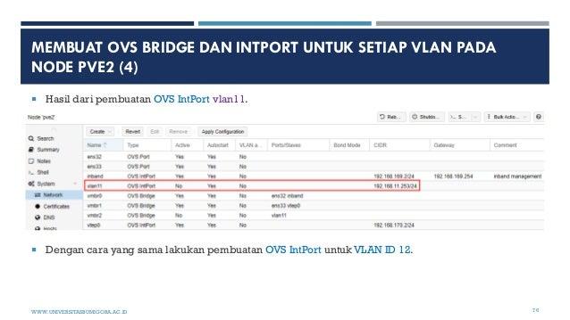 MEMBUAT OVS BRIDGE DAN INTPORT UNTUK SETIAP VLAN PADA NODE PVE2 (4)  Hasil dari pembuatan OVS IntPort vlan11.  Dengan ca...