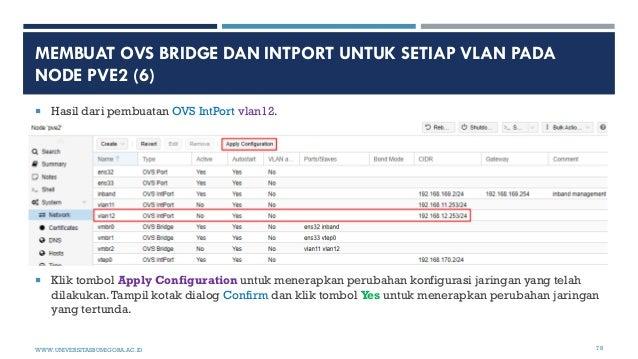 MEMBUAT OVS BRIDGE DAN INTPORT UNTUK SETIAP VLAN PADA NODE PVE2 (6)  Hasil dari pembuatan OVS IntPort vlan12.  Klik tomb...