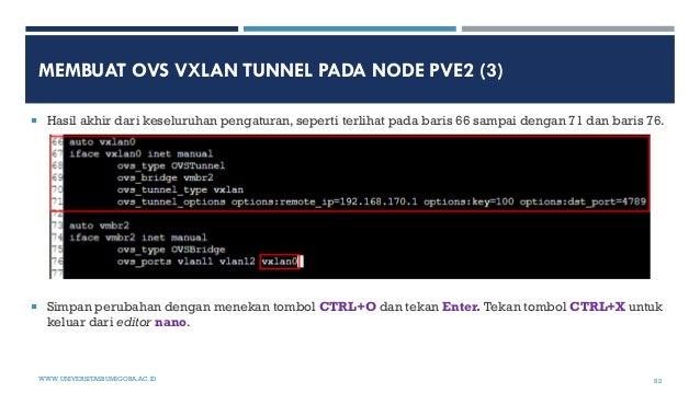 MEMBUAT OVS VXLAN TUNNEL PADA NODE PVE2 (3)  Hasil akhir dari keseluruhan pengaturan, seperti terlihat pada baris 66 samp...