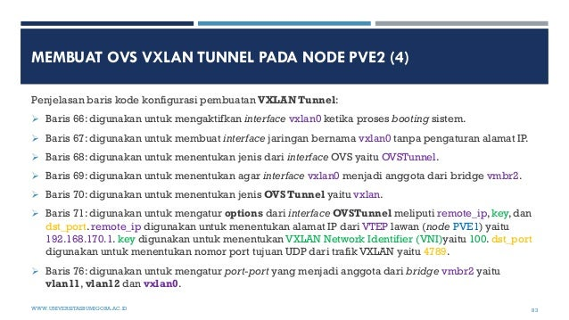 MEMBUAT OVS VXLAN TUNNEL PADA NODE PVE2 (4) Penjelasan baris kode konfigurasi pembuatan VXLAN Tunnel:  Baris 66: digunaka...
