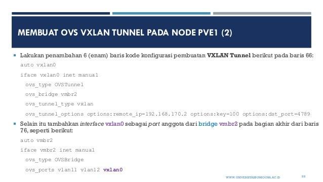 MEMBUAT OVS VXLAN TUNNEL PADA NODE PVE1 (2)  Lakukan penambahan 6 (enam) baris kode konfigurasi pembuatan VXLAN Tunnel be...