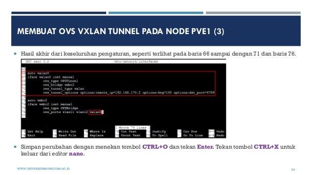 MEMBUAT OVS VXLAN TUNNEL PADA NODE PVE1 (3)  Hasil akhir dari keseluruhan pengaturan, seperti terlihat pada baris 66 samp...