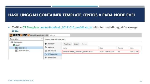 HASIL UNGGAH CONTAINER TEMPLATE CENTOS 8 PADA NODE PVE1  Terlihat CT Template centos-8-default_20191016_amd64.tar.xz tela...