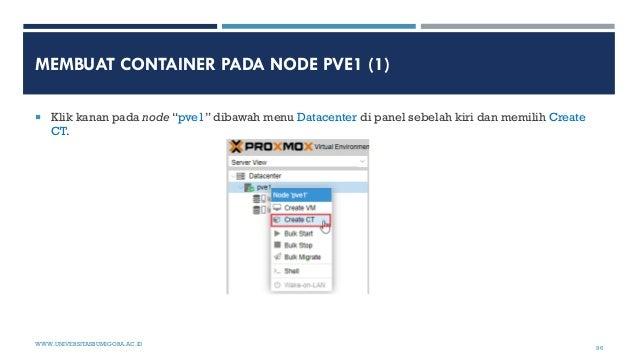 """MEMBUAT CONTAINER PADA NODE PVE1 (1)  Klik kanan pada node """"pve1"""" dibawah menu Datacenter di panel sebelah kiri dan memil..."""