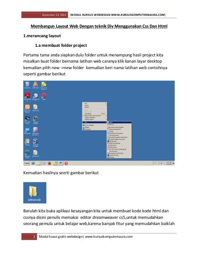 September 23, 2014 [MODUL KURSUS WEBDESIGN WWW.KURSUSKOMPUTERNAURA.COM] 1 Modul kusus gratis webdesign| www.kursuskomputer...