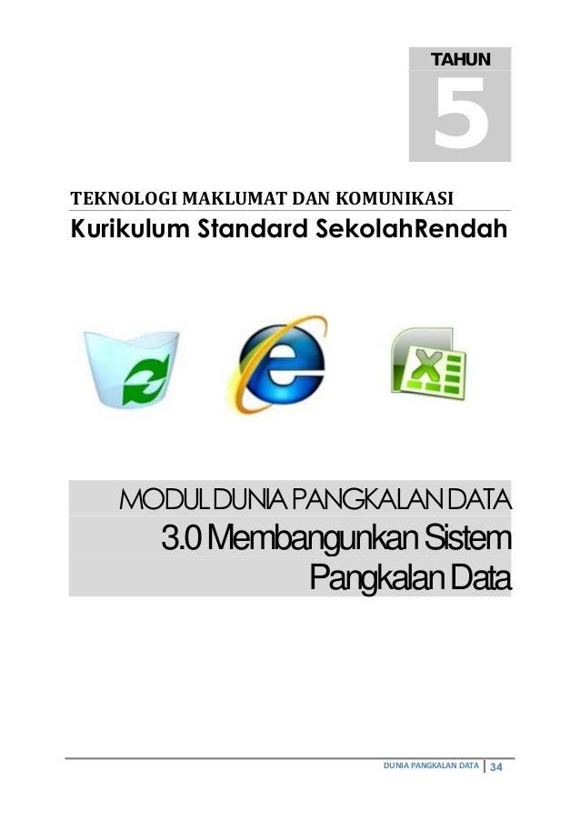 DUNIA PANGKALAN DATA 34 TEKNOLOGIMAKLUMATDANKOMUNIKASI Kurikulum Standard SekolahRendah MODULDUNIAPANGKALANDATA 3.0Memb...