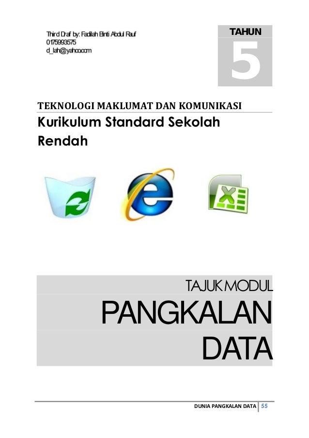 55DUNIA PANGKALAN DATA TEKNOLOGIMAKLUMATDANKOMUNIKASI Kurikulum Standard Sekolah Rendah TAJUKMODUL PANGKALAN DATA TAHUN...