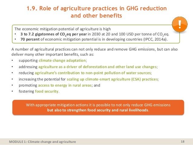 MODULE 1: Climate change and agriculture 1.9. Role of agriculture practices in GHG reduction and other benefits A number o...