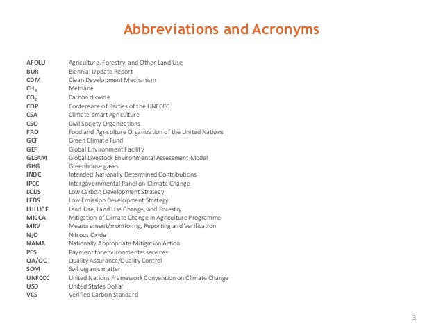 Abbreviations and Acronyms 3 AFOLU Agriculture, Forestry, and Other Land Use BUR Biennial Update Report CDM Clean Developm...
