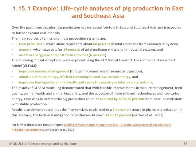 MODULE 1: Climate change and agriculture 1.15.1 Example: Life-cycle analyses of pig production in East and Southeast Asia ...