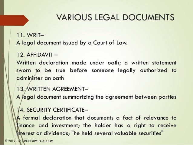 Module Legal Documents An Overview - Legal document of agreement