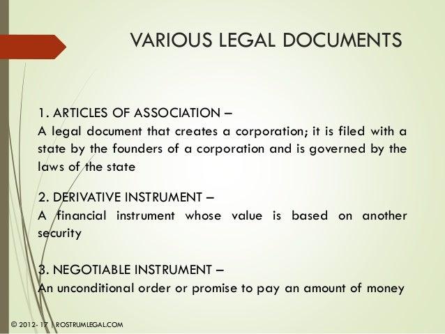 Module Legal Documents An Overview - Corporation legal documents