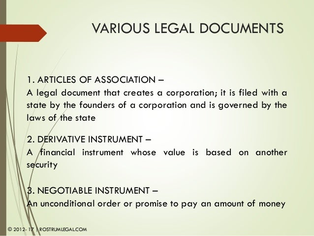 COM; 7. VARIOUS LEGAL DOCUMENTS ...  Legal Promise To Pay Document