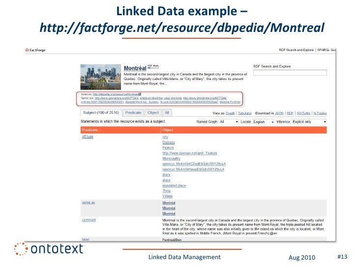 Linked Data example – http://factforge.net/resource/dbpedia/Montreal                      Linked Data Management   Aug 201...
