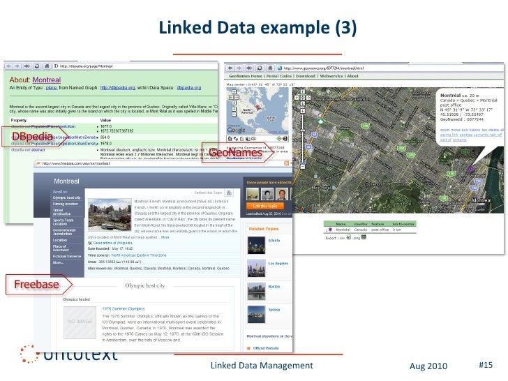 Linked Data example (3)     DBpedia                 GeoNames     Freebase                      Linked Data Management   Au...