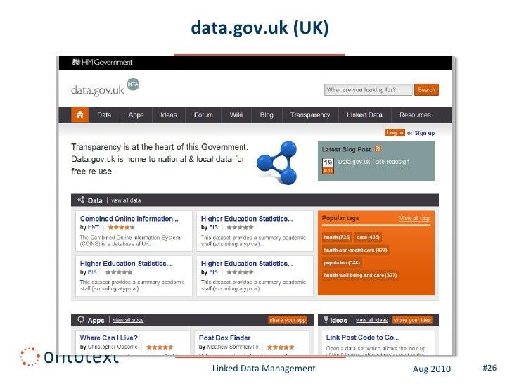 data.gov.uk (UK)       Linked Data Management   Aug 2010   #26