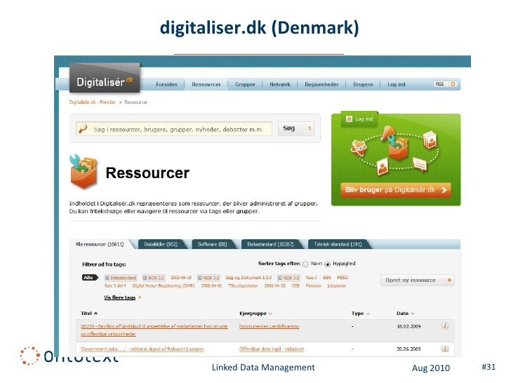 data.norge.no (Norway)          Linked Data Management   Aug 2010   #31