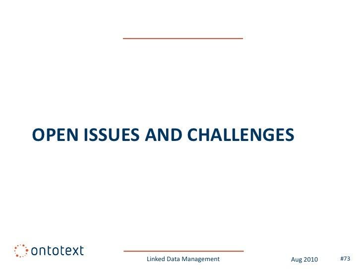 Linked Life Data – ETL process              Linked Data Management   Aug 2010   #73