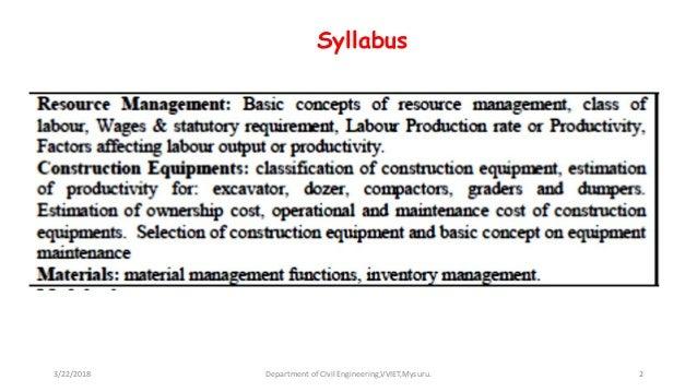 module 2 resource management construction equipments materials invent