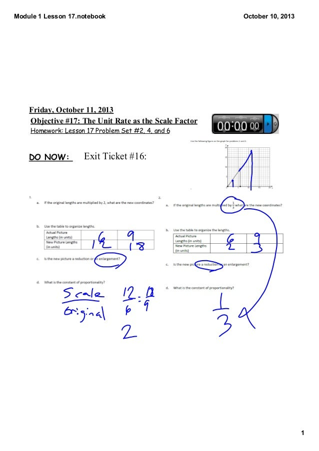 Module1Lesson17.notebook 1 October10,2013 Homework: Lesson 17 Problem Set #2, 4, and 6 Objective#17:TheUnitRatea...