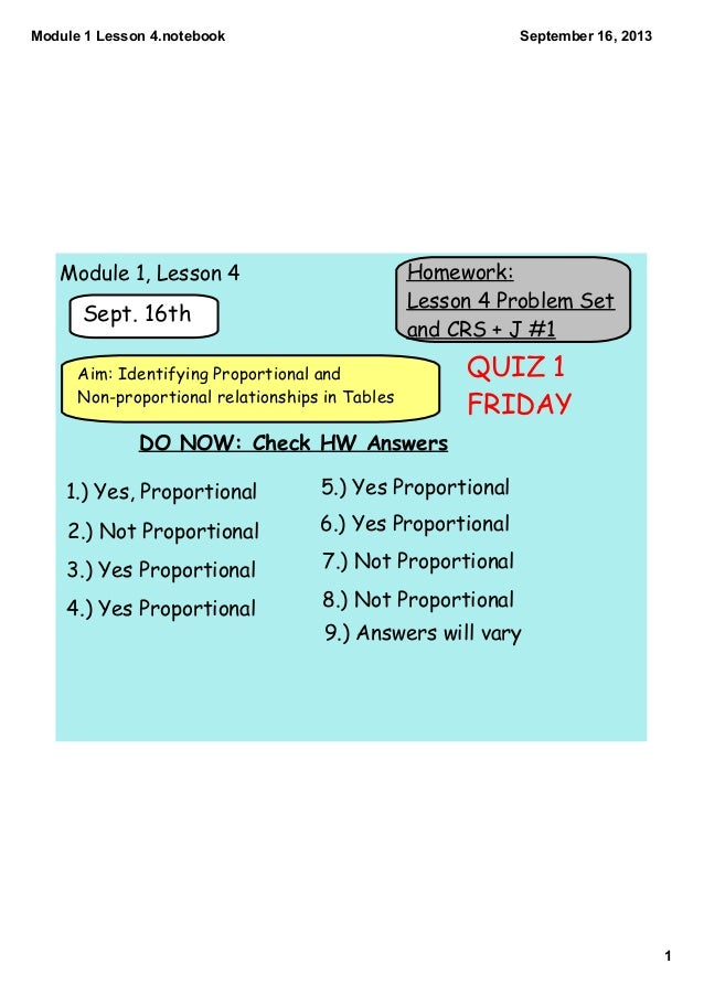 Module1Lesson4.notebook 1 September16,2013 Homework: Lesson 4 Problem Set and CRS + J #1 Sept. 16th Aim: Identifying ...